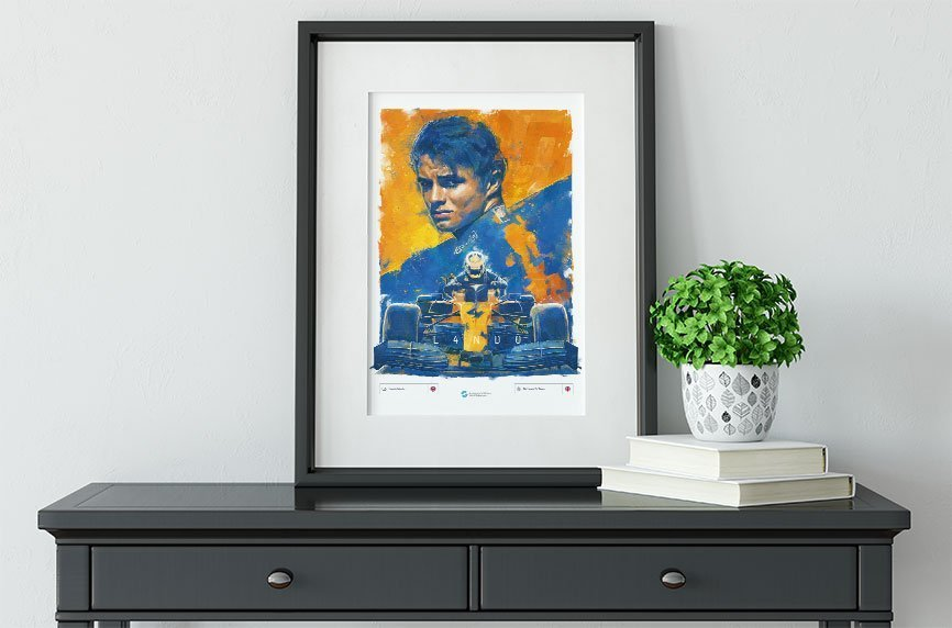 Lando Norris poster on a table